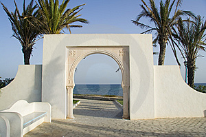 White Islam Gate Over Blue Sea Royalty Free Stock Image - Image: 6690796