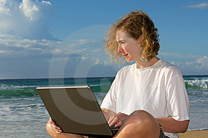 Blonde Businesswoman With Notebook On Beach Royalty Free Stock Images - Image: 6695729