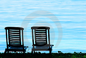 Chair and beach Royalty Free Stock Photography