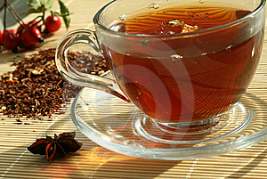 The cup of the tea and the dry tea Stock Photos