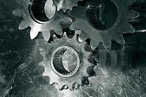 Gears and cogs in bronze Royalty Free Stock Images