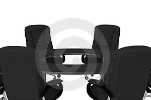 Isolated office armchairs with table 08 Royalty Free Stock Photo