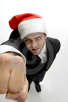 High Angle View Of Man Showing Punch Royalty Free Stock Photography - Image: 6702747