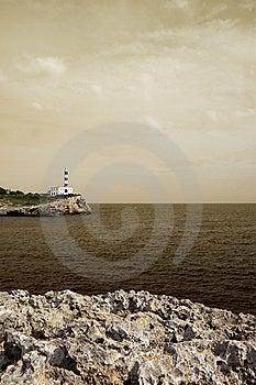 Portocolom Lighthouse, Mallorca, Havana Toned Royalty Free Stock Photography - Image: 6705337