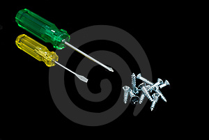 Screwdrivers And Screws Royalty Free Stock Photo - Image: 6706045