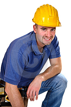 Portrait of handyman Stock Images