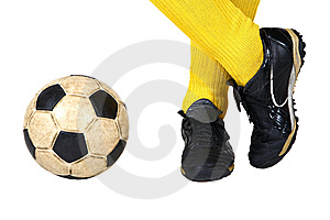 Player and soccer ball Royalty Free Stock Photography