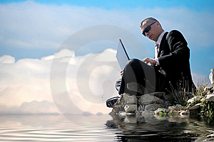 Men With His Laptop Working Stock Photo - Image: 6710140