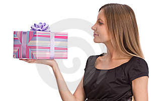 Beautiful Girl With Gift Box Royalty Free Stock Photography - Image: 6712217