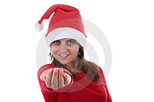 Beautiful Santa Woman With Her Hand In The Air Royalty Free Stock Image - Image: 6713666