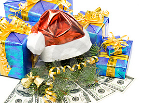 Santa's Red Hat, Gift Boxes And Money Stock Photography - Image: 6719602