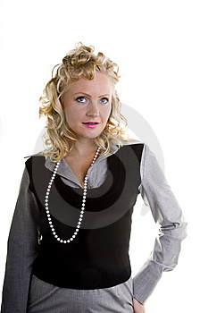 Curly Blonde In Pearls Hand On Hip Looking Up Royalty Free Stock Photos - Image: 6720188