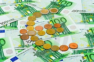 Euro Coins And Banknotes Stock Photo - Image: 6724310