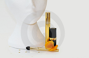 Lipstick, Mascara And Brush With Clipping Path Royalty Free Stock Photo - Image: 6726835