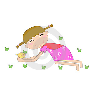 Cute Girl And Chick Stock Photography - Image: 6728272