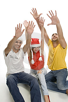 Young Friends With Raised Hands Royalty Free Stock Photos - Image: 6732708