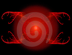 Fractal Rendering Of Red Symbol Over Black Stock Image - Image: 6733071