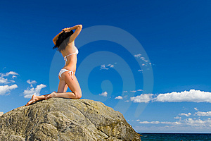 Woman Relaxation In The Beach Royalty Free Stock Photo - Image: 6736455