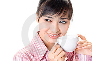 Asian Woman Have A Coffee Break Stock Images - Image: 6740944