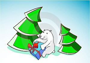 Small Bear With A Gift Stock Image - Image: 6750511