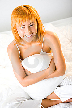 Woman With Pillow Stock Photography - Image: 6756612