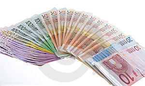Euro Bank Notes Organized In A Flapper Stock Photos - Image: 6757063