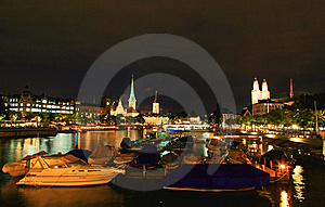 The Night View Of Major Landmarks In Zurich Royalty Free Stock Photography - Image: 6758877