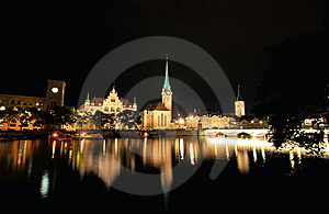The Night View Of Major Landmarks In Zurich Stock Images - Image: 6758884