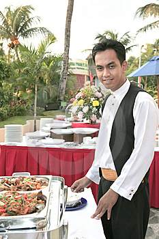 Waiter At Buffet Royalty Free Stock Photo - Image: 6761125