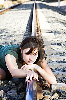 Sad Woman On Railtrack Stock Photo - Image: 6763900