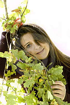 Woman With Leaves. Royalty Free Stock Photography - Image: 6763957