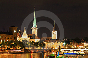 The Night View Of Major Landmarks In Zurich Stock Photos - Image: 6764303