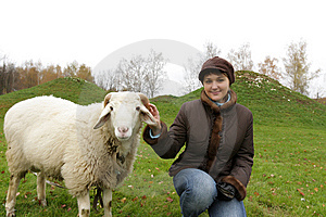 Girl And Sheep Royalty Free Stock Image - Image: 6766136