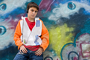 Cool Teenager Listening Music  Royalty Free Stock Photography - Image: 6767487
