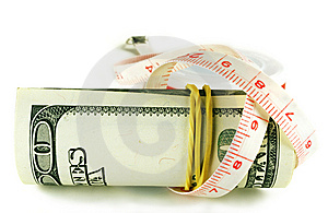 One Hundred Dollar Bill Roll - Dollar Grows Thin Royalty Free Stock Photography - Image: 6770477