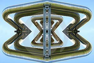 Abstract Illustration Of Pipes Against Blue Sky Royalty Free Stock Images - Image: 6778189