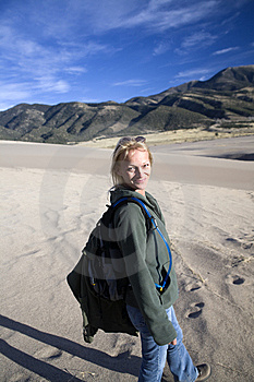 Smiling Hiking Woman On Sand Stock Photography - Image: 6781132