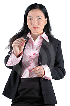 Young Businesswoman Pointing Pen Stock Photography - Image: 6783062