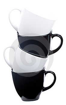 Tower From Four Coffee Cups Royalty Free Stock Image - Image: 6784556