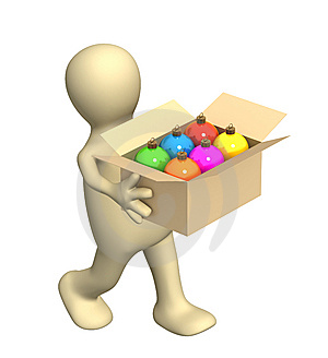 3d Puppet, Carrying A Box With Christmas Balls Stock Photo - Image: 6785980
