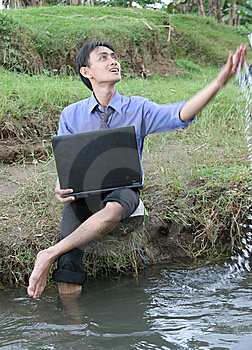Business Man Enjoy Nature Stock Photo - Image: 6786670