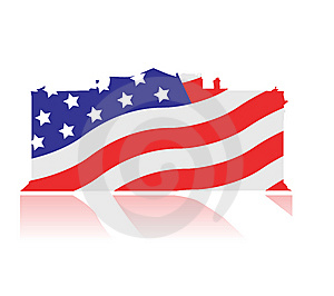 White House With American Colours Royalty Free Stock Image - Image: 6787476