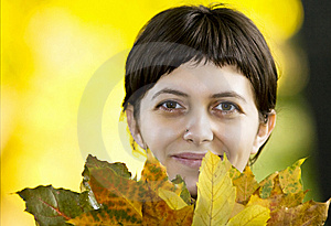 Young Woman With Maple Leaves Royalty Free Stock Photo - Image: 6787935