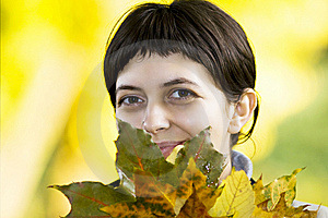 Young Woman With Maple Leaves Stock Images - Image: 6787974