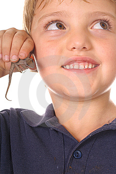 Happy Bug Boy With Lizard Looking Up Vertical Stock Photos - Image: 6788013