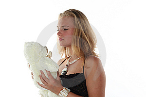 Woman And Teddy Bear Royalty Free Stock Image - Image: 6790406