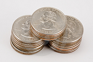 Isolated Stacks Of Quarters Royalty Free Stock Photo - Image: 6792015