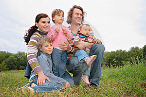 Family of five portrait Royalty Free Stock Image