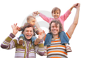 Parents with children on shoulders Stock Image