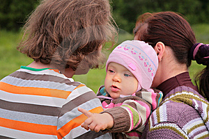 Parents With Child On Nature Royalty Free Stock Image - Image: 6792916